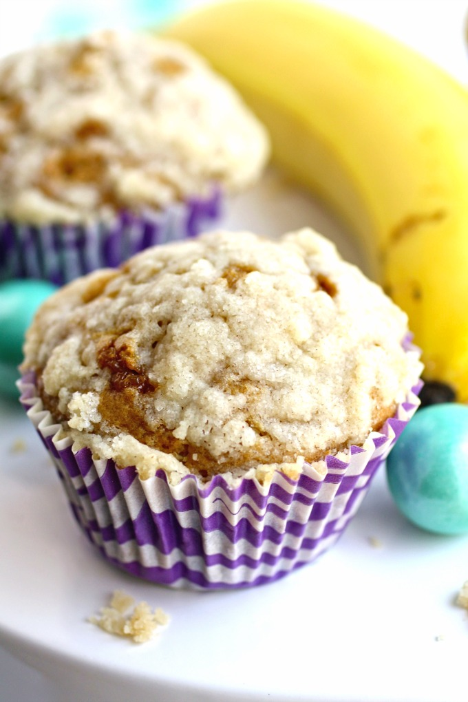 The perfect use for overripe bananas: Caramel Banana Muffins with Streusel Topping!