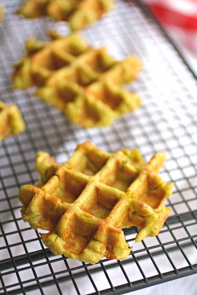 Falafel Waffle Bites cooking on a baking rack.