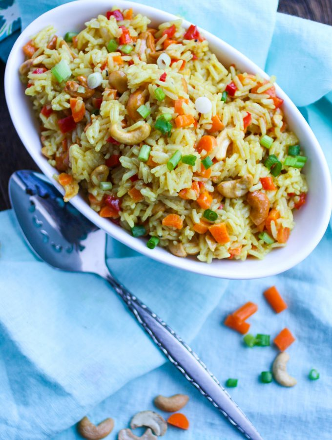 Coconut Carrot and Cashew Rice Pilaf