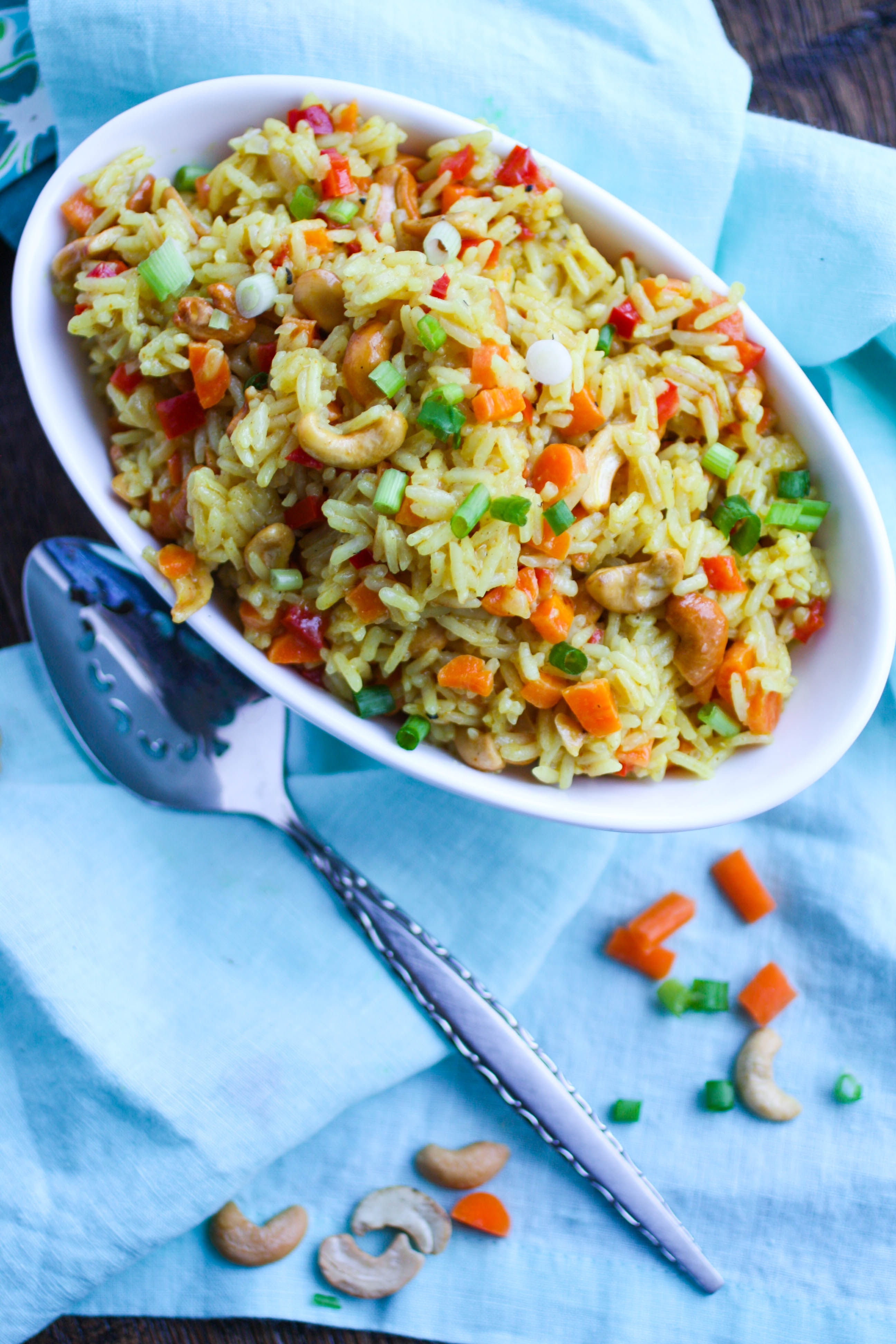Coconut Carrot and Cashew Rice Pilaf is a great side dish that's easy to make. Use the staples from your pantry to put this rice dish together!