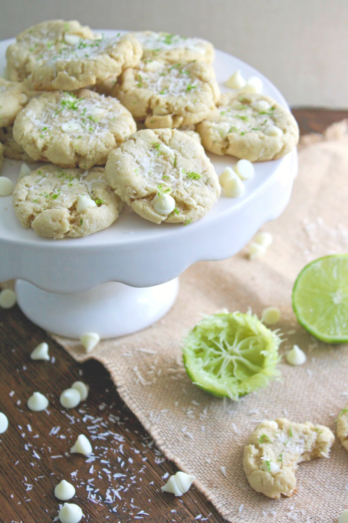 Coconut-Lime White Chocolate Chip Cookies are just what you need to to bring on spring! You'll love these fun cookies!