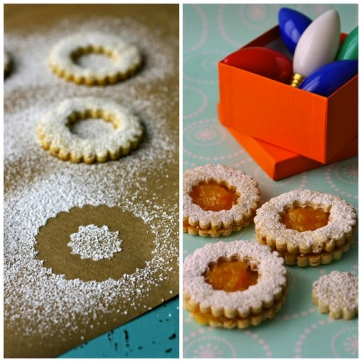 Linzer cookies and homemade orange marmalade