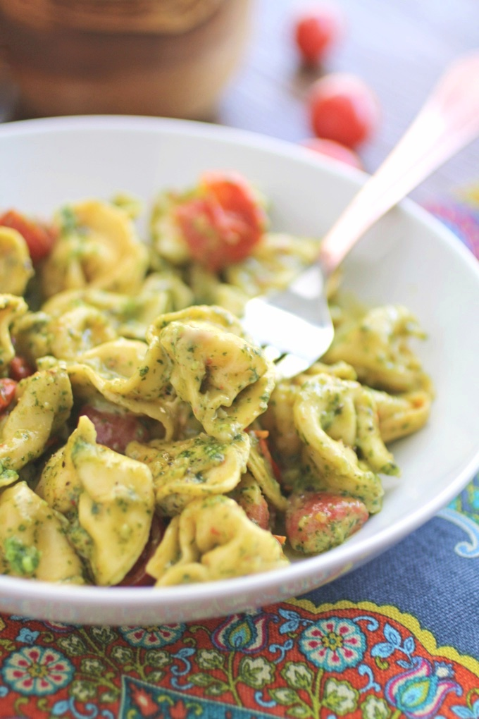 Creamy Skillet Tortellini with Arugula Pesto is a fabulous dish! It makes a great meatless meal, too!