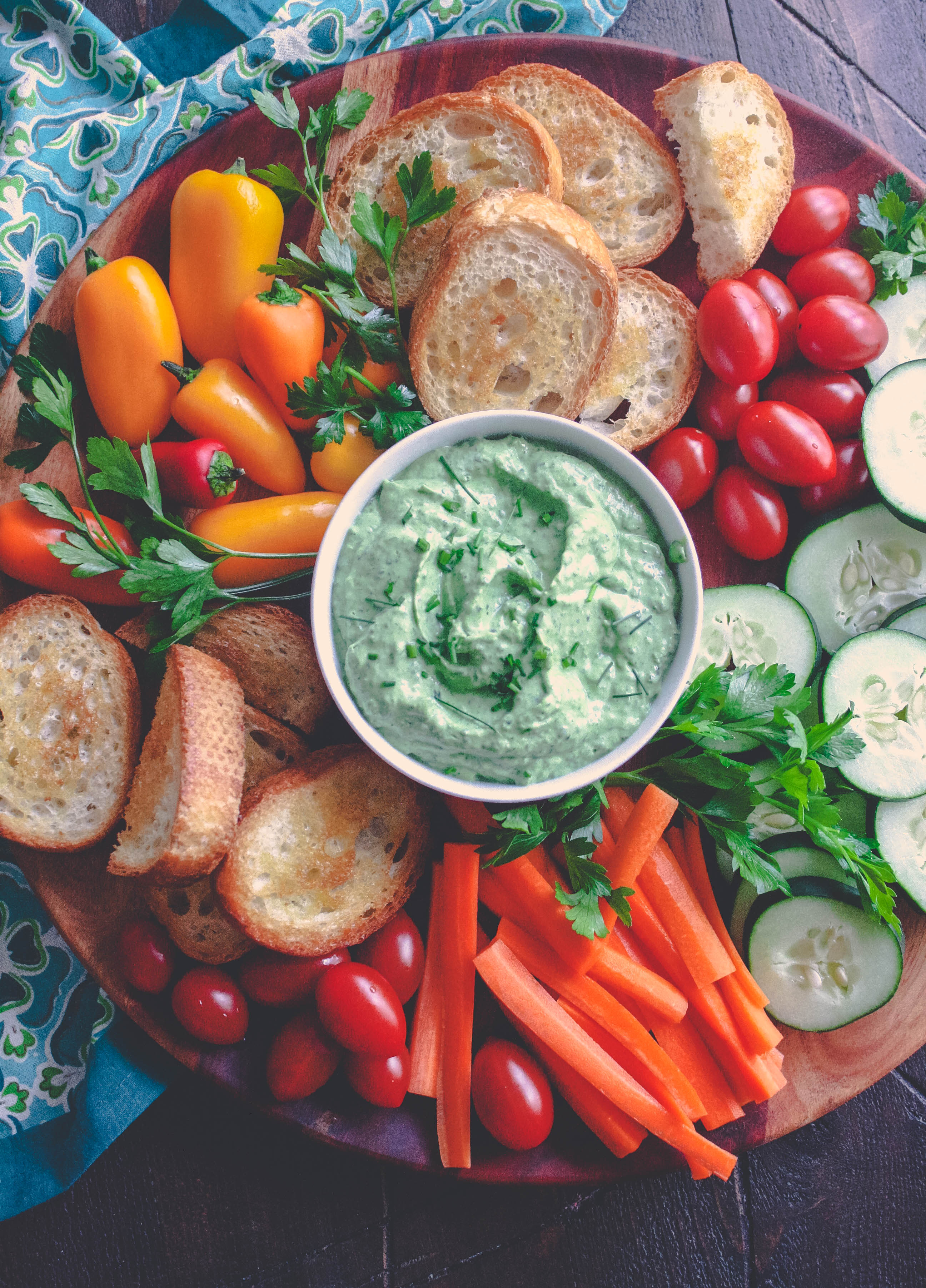 Creamy Green Goddess Dip is fresh and fun for an anytime snack. Creamy Green Goddess Dip makes a fun and festive snack.