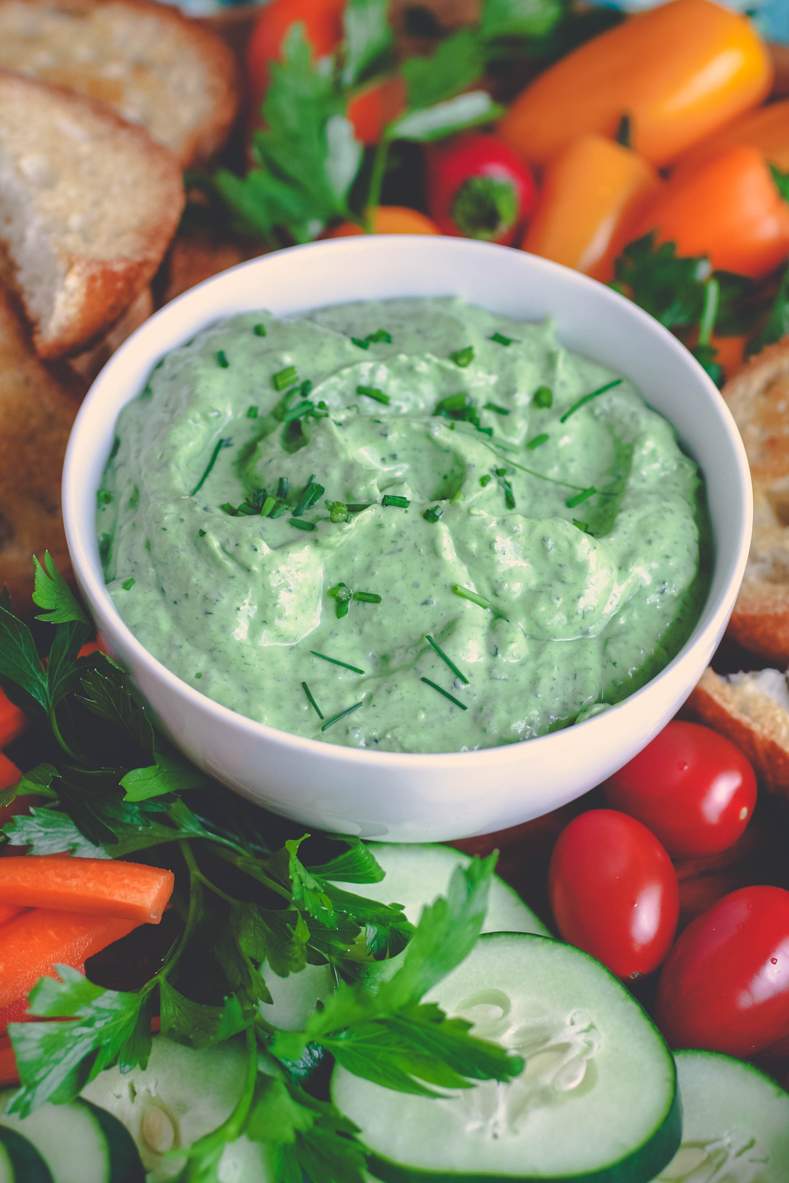 Creamy Green Goddess Dip is filled with great ingredients for a tasty snack. Creamy Green Goddess Dip is so nice to serve as a snack or appetizer!