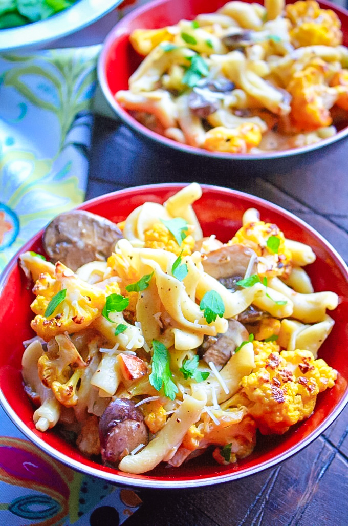 Creamy Pasta with Roasted Cauliflower and Mushrooms is a delightful dish for any meal. Everyone will love the flavors of Creamy Pasta with Roasted Cauliflower and Mushrooms.