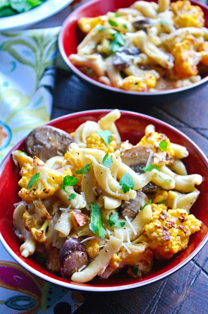 This rich pasta dish is something special! Serve Creamy Pasta with Roasted Cauliflower and Mushrooms for guests or your family!