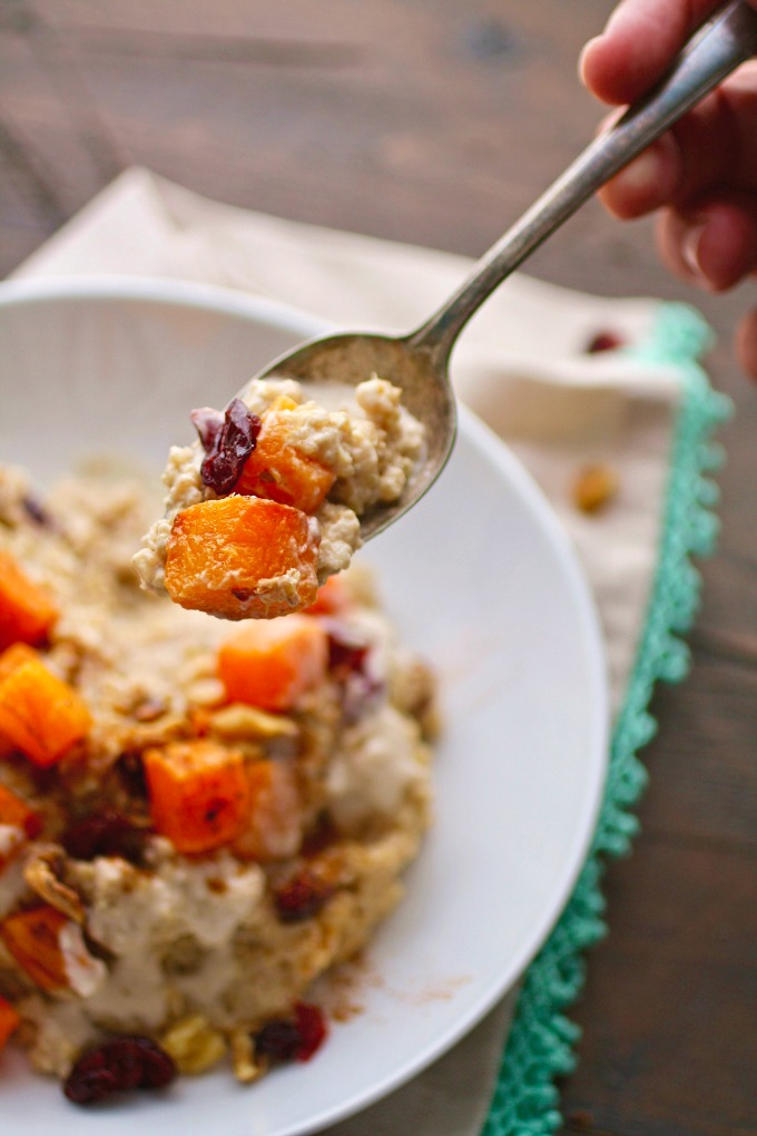 You'll want to dig into a big bowl of Creamy Breakfast Quinoa with Roasted Butternut Squash!
