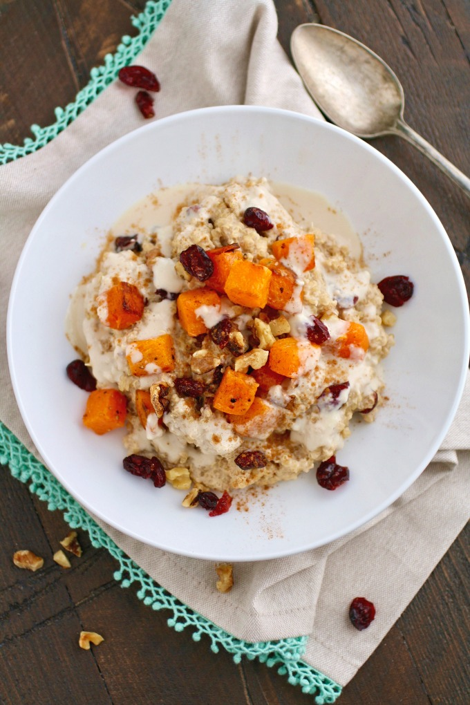 Try something a little different (and delicious) for breakfast: Creamy Breakfast Quinoa with Roasted Butternut Squash!