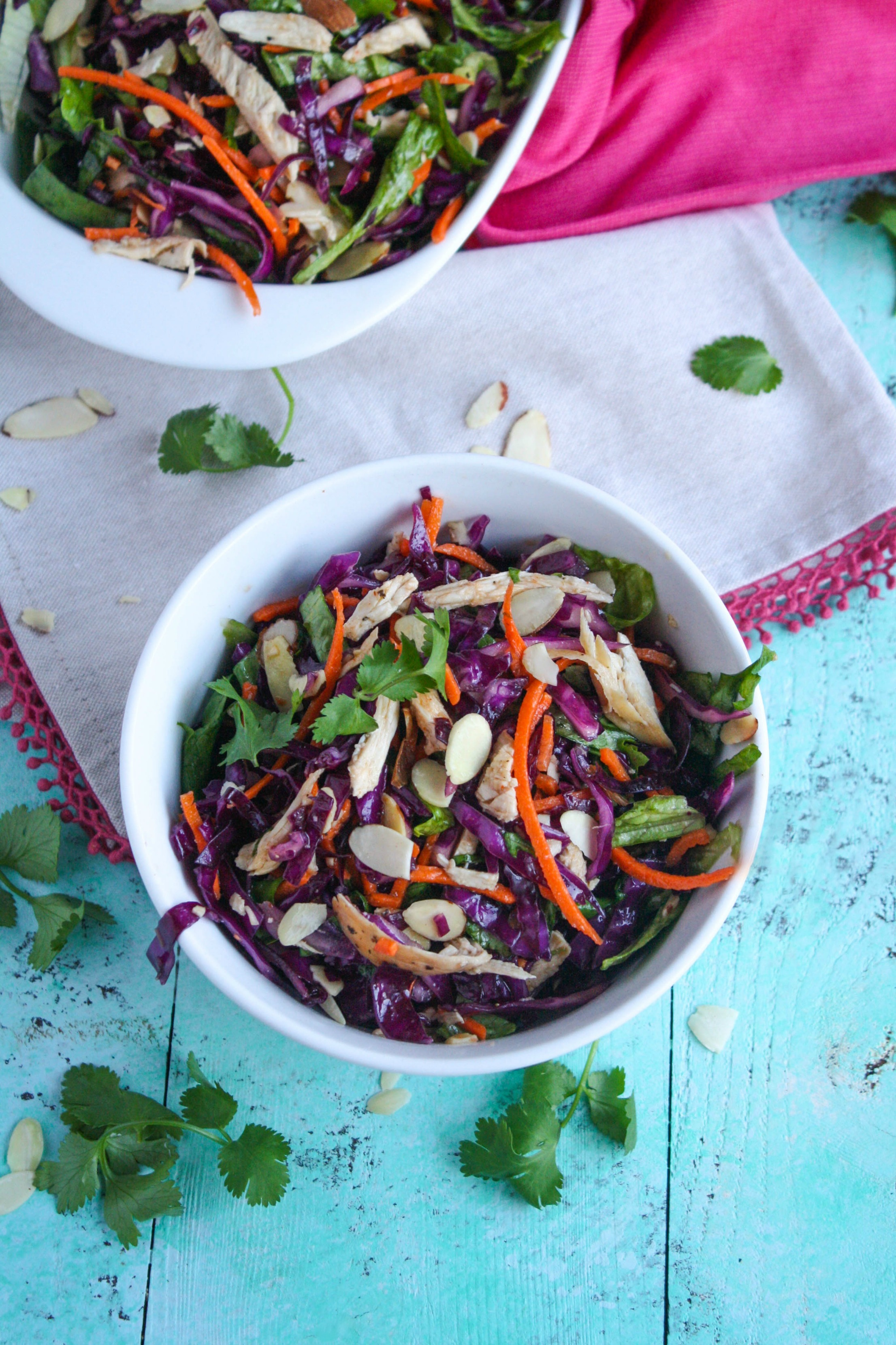 Crunchy Cabbage & Chicken Salad with Sesame Dressing is a crunchy, colorful treat. This cabbage salad is wonderful when you need something delicious in your life!