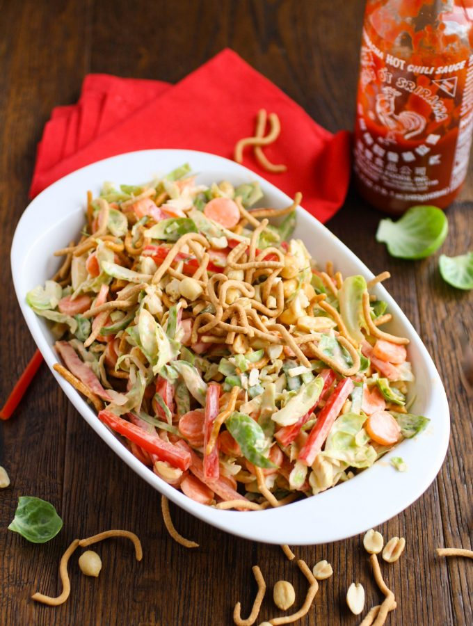 Crunchy Brussels Sprouts Salad with Creamy Sriracha Dressing is a new classic! You'll love all the textures and flavors!