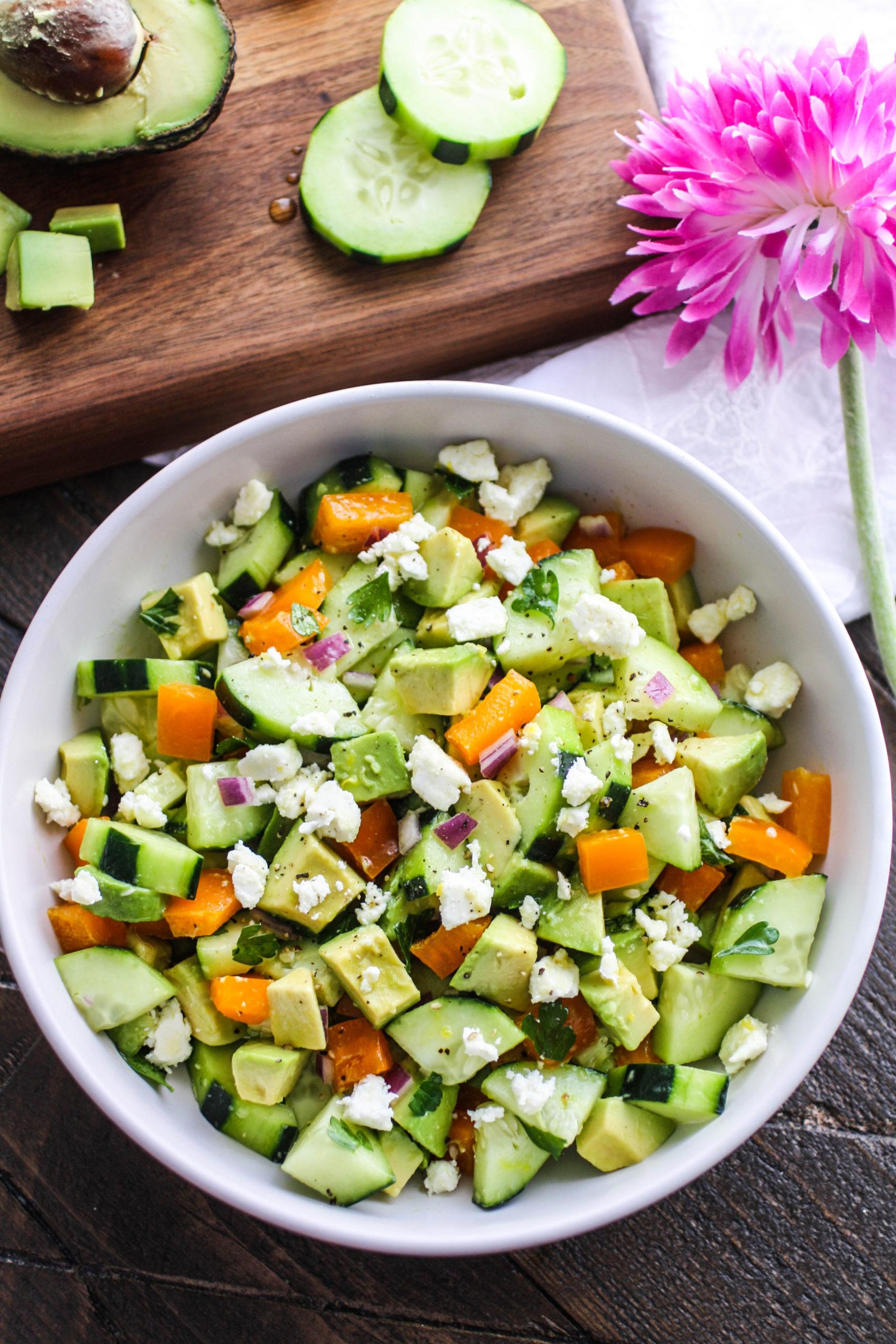 Enjoy a big plate of Cucumber-Avocado Salad with Honey-Lemon Vinaigrette.