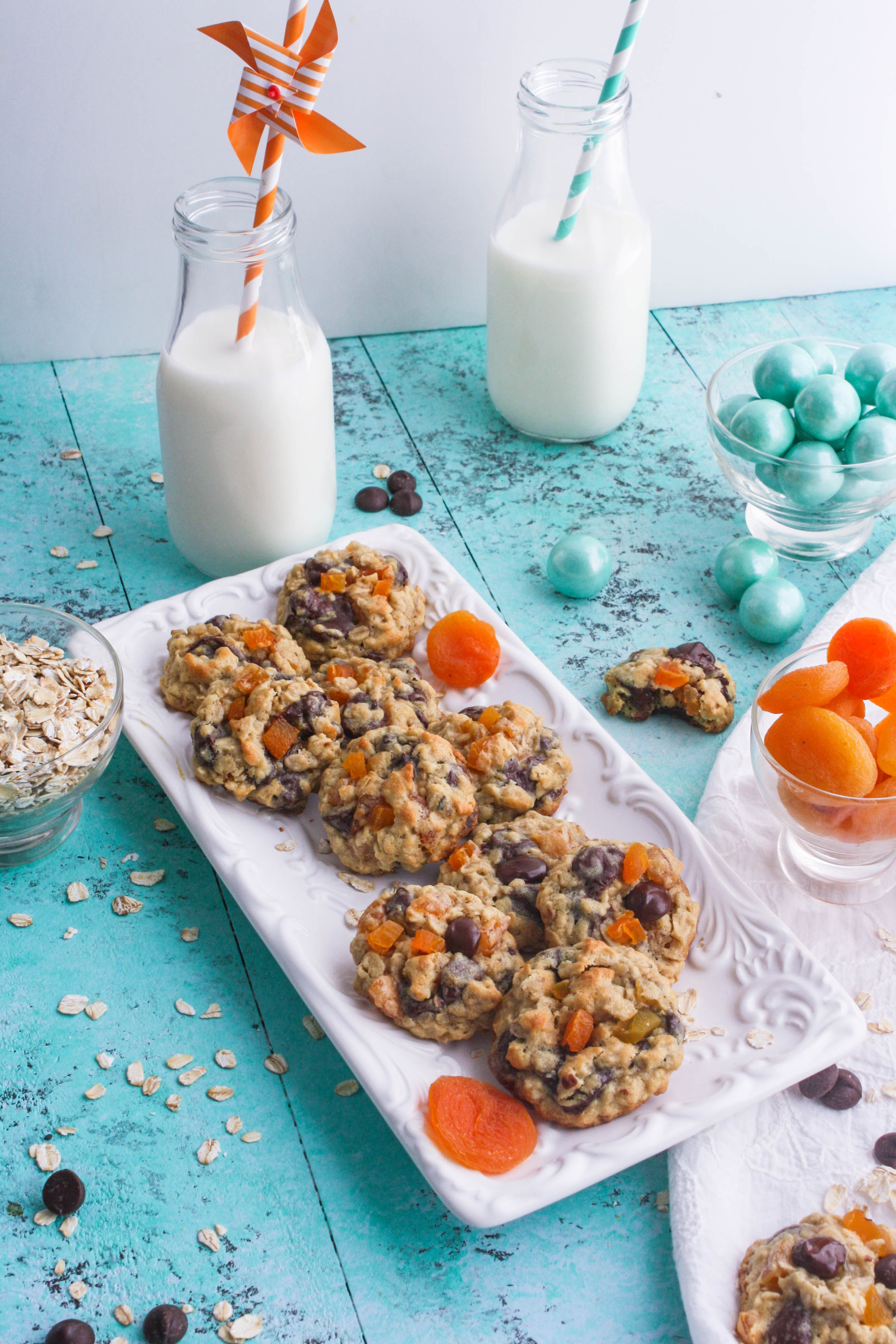 Dark Chocolate Apricot Oatmeal Cookies are great paired with a glass of milk! You'll enjoy Dark Chocolate Apricot Oatmeal Cookies with milk, coffee, or anything, really!