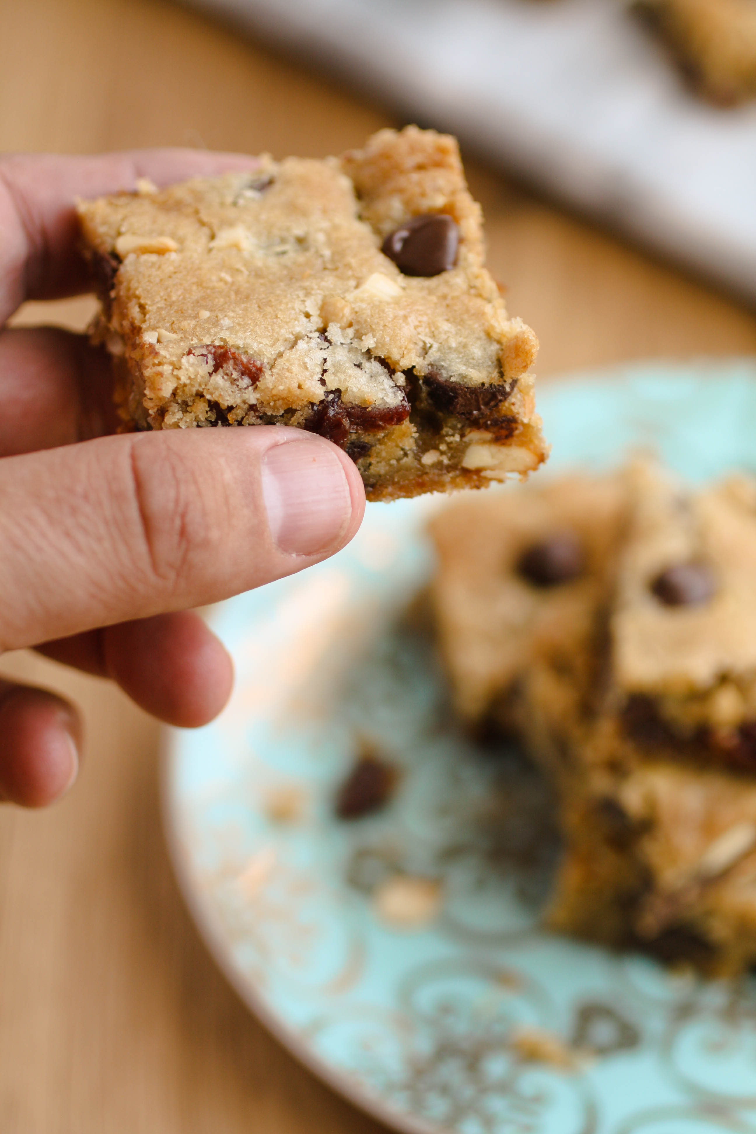 Dark Chocolate Chip Cherry Cashew Bars are fabulous for a dessert treat. You'll love them!