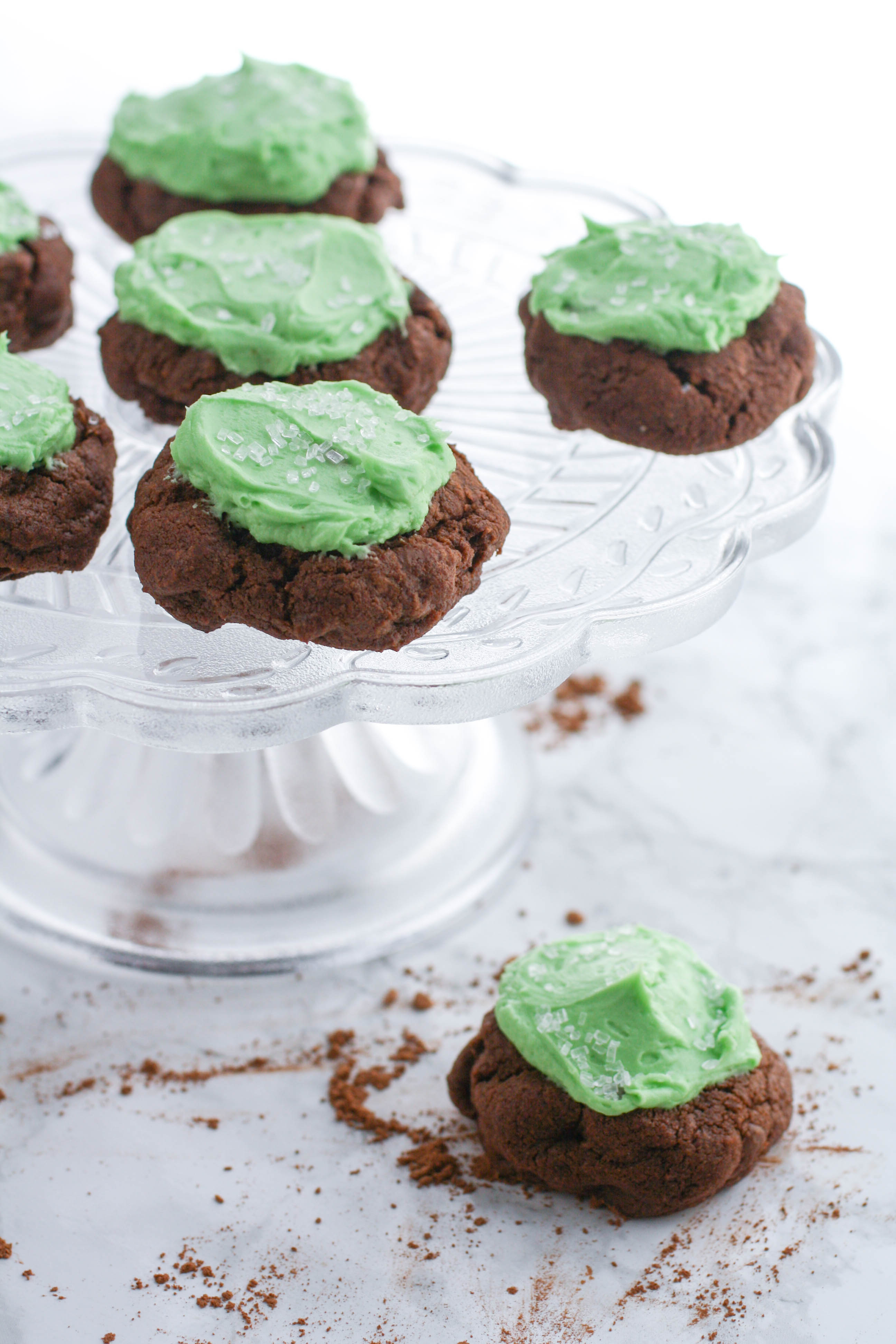 Double Chocolate Cookies with Baileys Buttercream Frosting are tasty treats that are perfect for St. Patrick's Day! You'll love Double Chocolate Cookies with Baileys Buttercream Frosting anytime of year!
