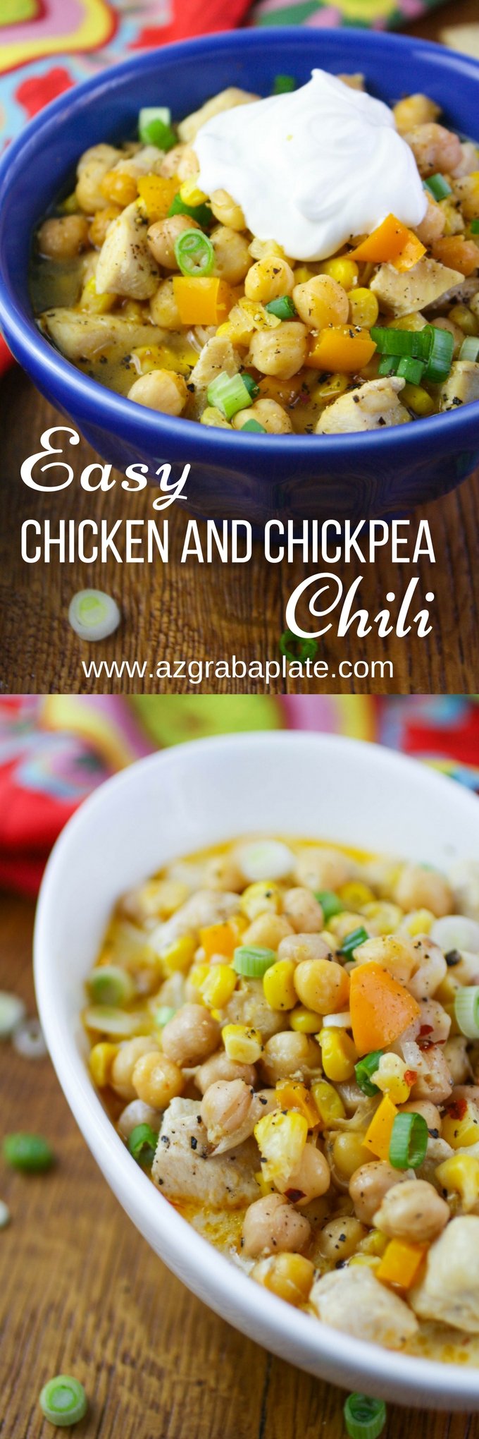 Easy Chicken and Chickpea Chili will be a hit on a cold night! You'll love this chili for it's big flavor, heartiness, and because it's so easy to make!