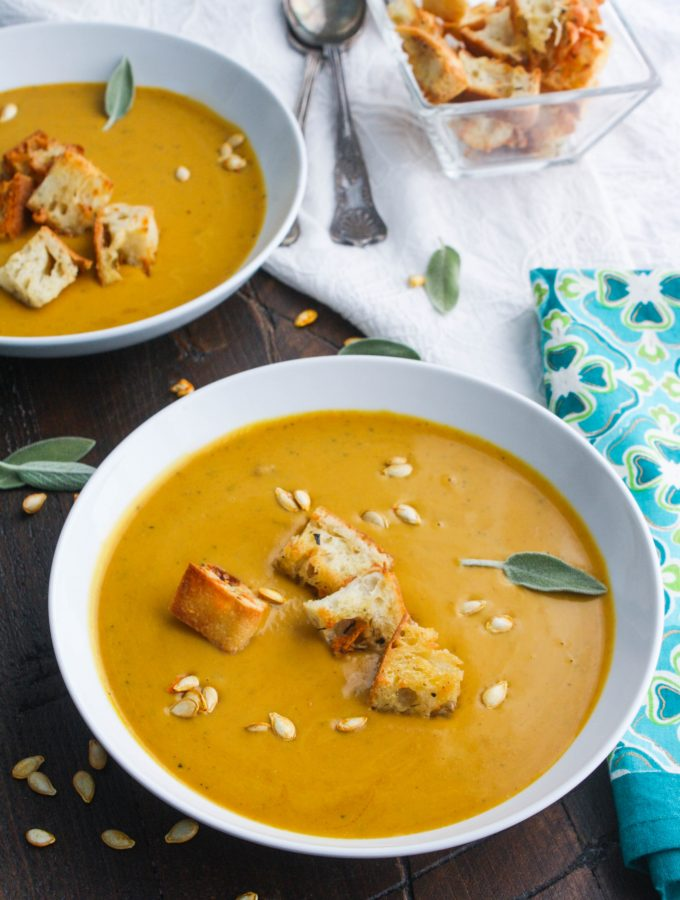 Easy, Creamy Butternut Squash Soup is a flavorful (and colorful) soup for any night of the week. This soup is also lovely for a special meal!