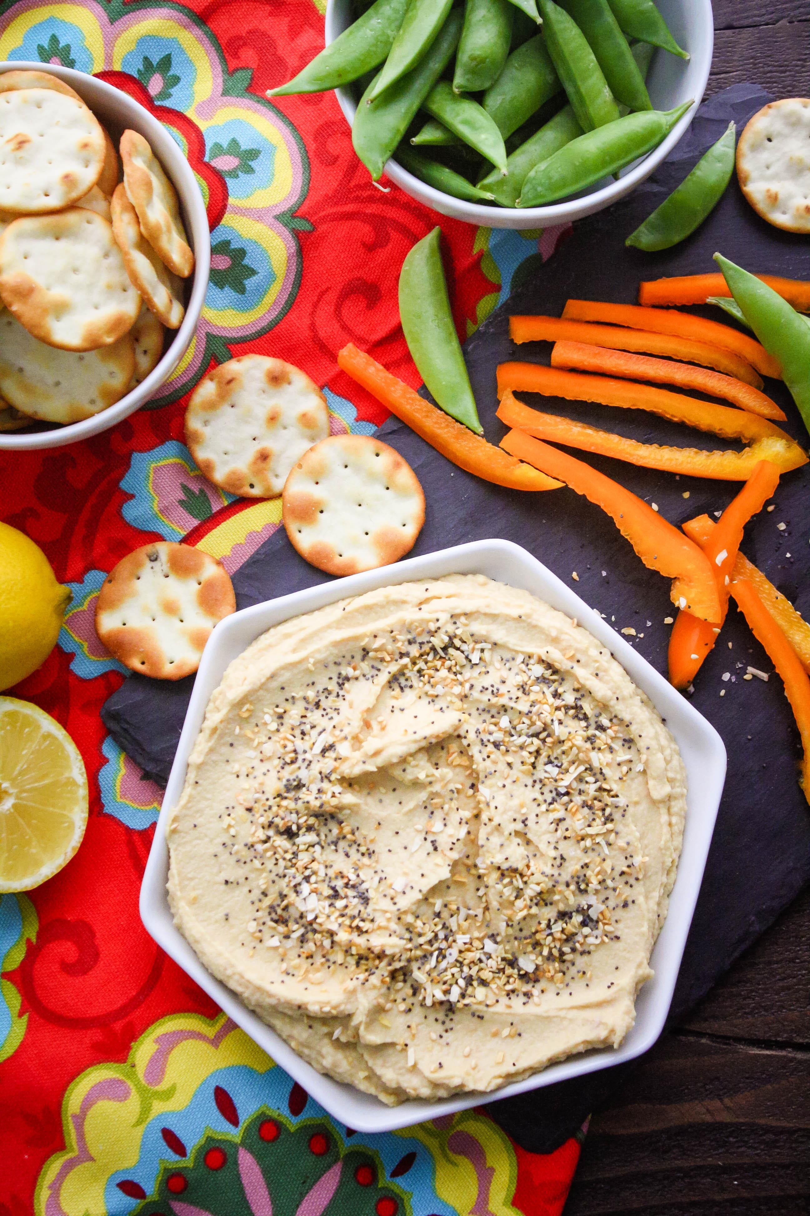 Easy Everything Hummus with Homemade Seasoning is a fabulous snack. Easy Everything Hummus with Homemade Seasoning is an easy snack to whip up.
