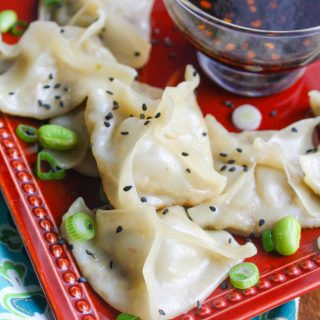 Edamame and Mushroom Potstickers with Dipping Sauce make a great appetizer or snack. These potstickers with dipping sauce are perfect to serve for any gathering.