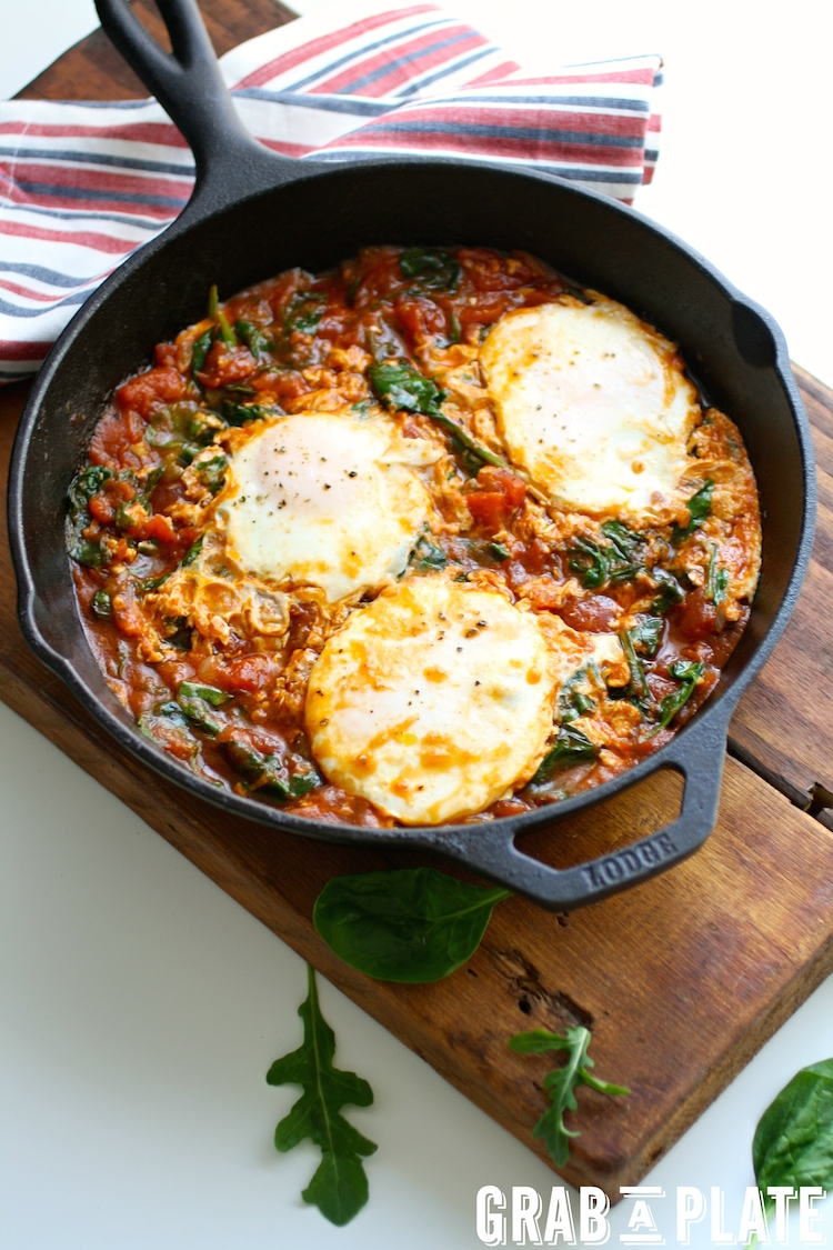 A one-skillet meal, Eggs in Hatch Chile-Spiced Tomato Sauce is perfect any time of day