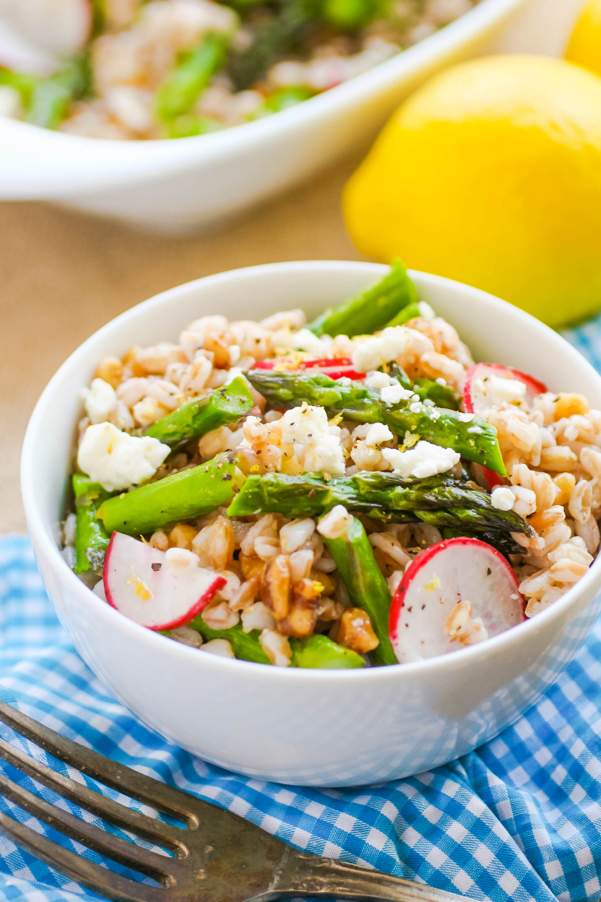 Farro Salad with Asparagus, Radishes & Lemon Vinaigrette is a lovely spring salad that's hearty, too. Farro Salad with Asparagus, Radishes & Lemon Vinaigrette is a delightfully hearty spring salad.