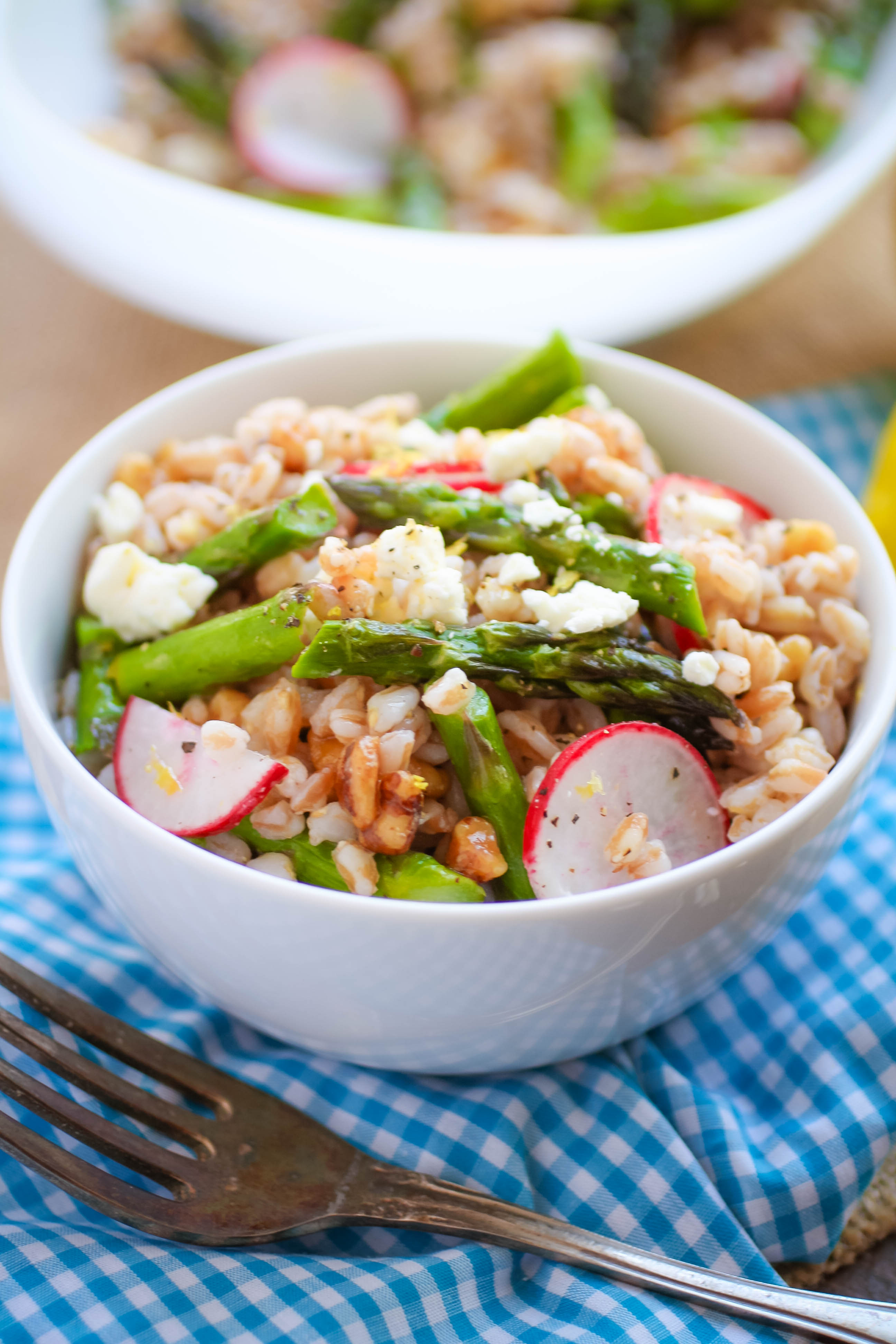 Farro Salad with Asparagus, Radishes & Lemon Vinaigrette is nice as a side or as part of a lighter meal. Enjoy this Farro Salad with Asparagus, Radishes & Lemon Vinaigrette this season.