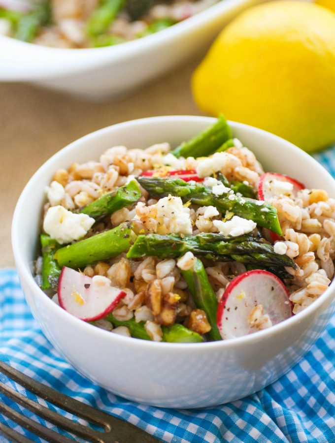 Farro Salad with Asparagus, Radishes & Lemon Vinaigrette