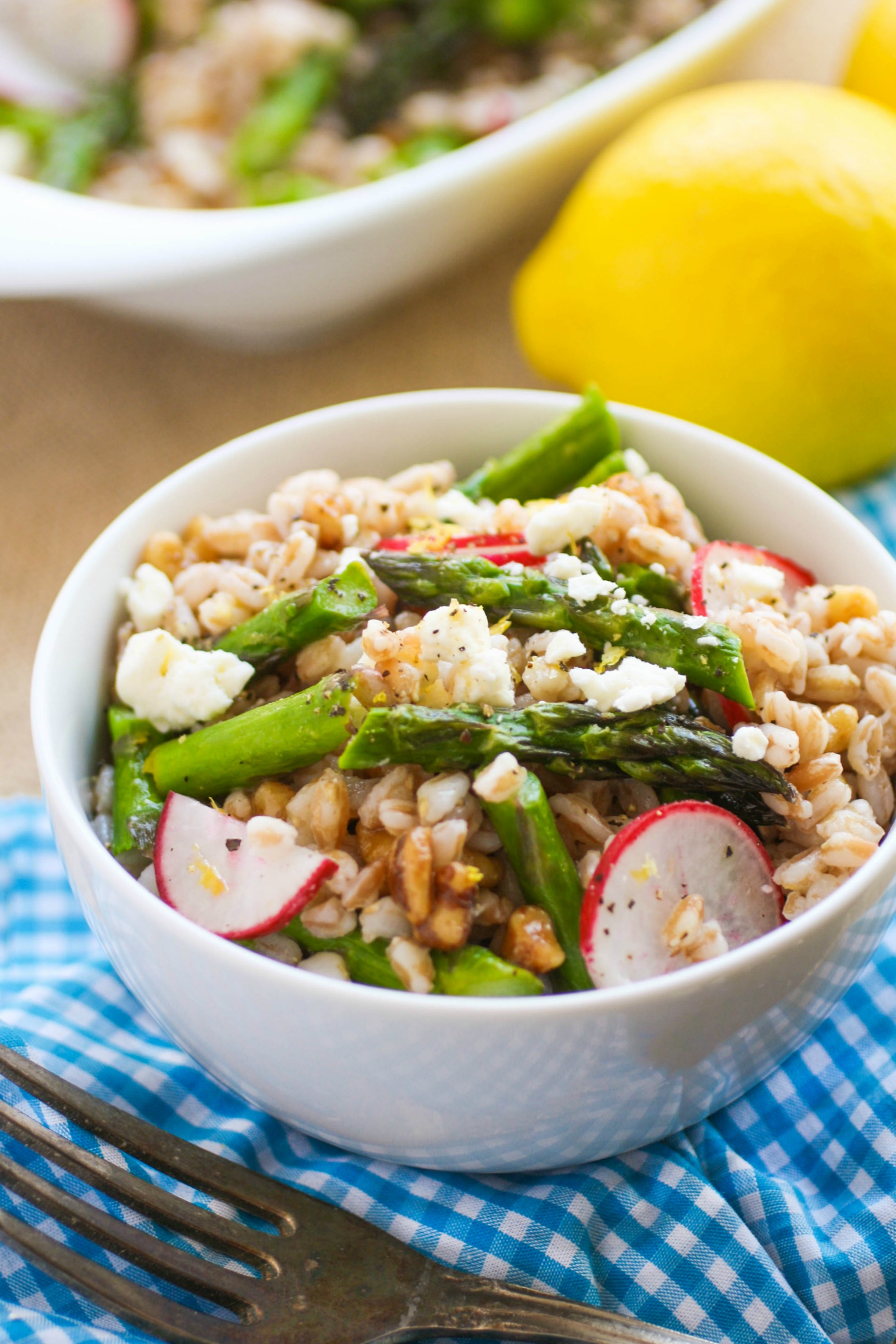 Farro Salad with Asparagus, Radishes & Lemon Vinaigrette is a fabulous spring dish! You'll love the bright colors and flavors!