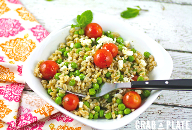 Dig in to a bowl of Farro and Pea Salad with Lemon-Mint Vinaigrette