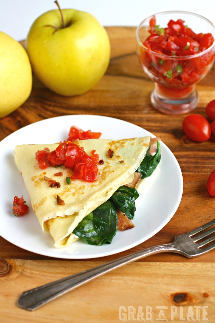 What a great meal: Spinach, Bacon, and Brie Crêpes