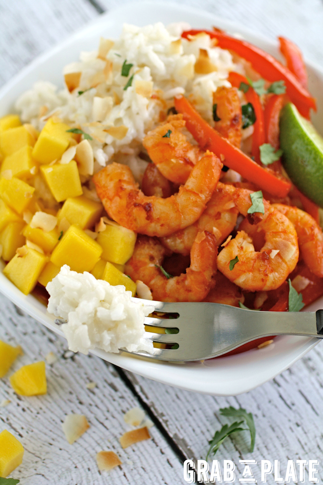 A forkful of dreamy coconut rice from Spicy Citrus Shrimp and Coconut Rice Bowls