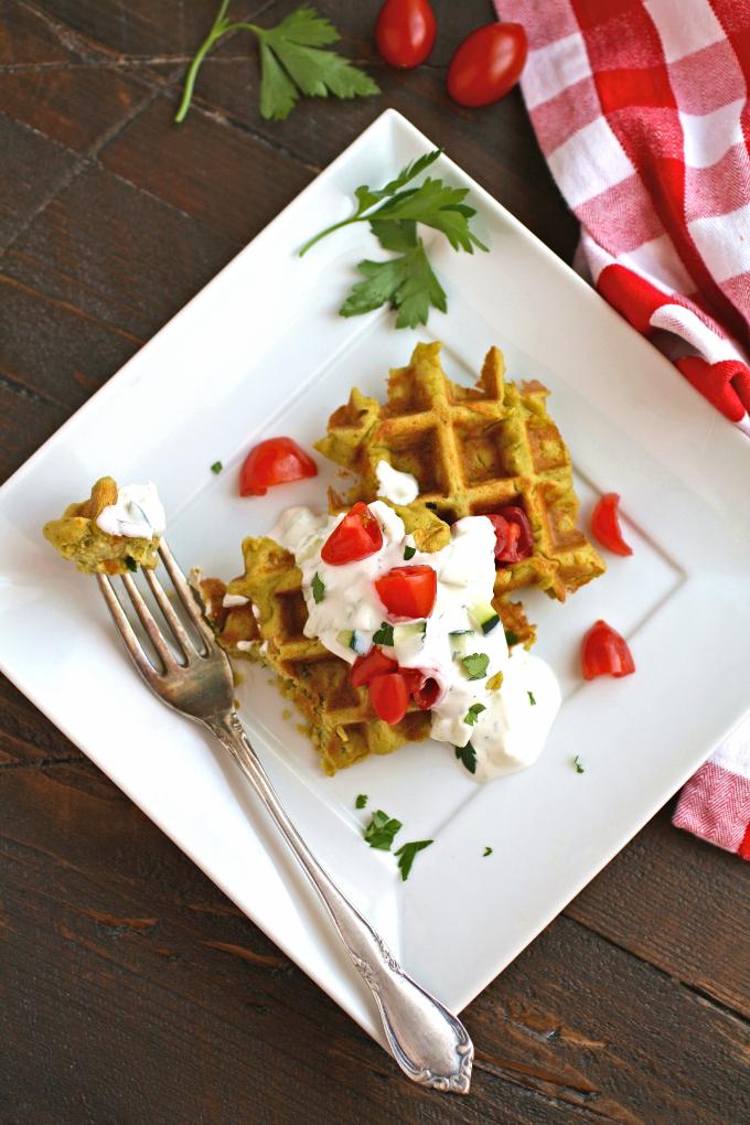 Enjoy these vegetarian Falafel Waffle Bites with Tzatziki Sauce.