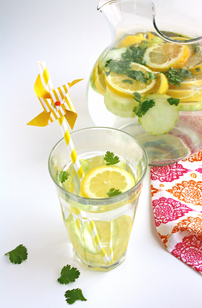 Try a refreshing pitcher of Lemon, Cucumber & Cilantro Infused Water