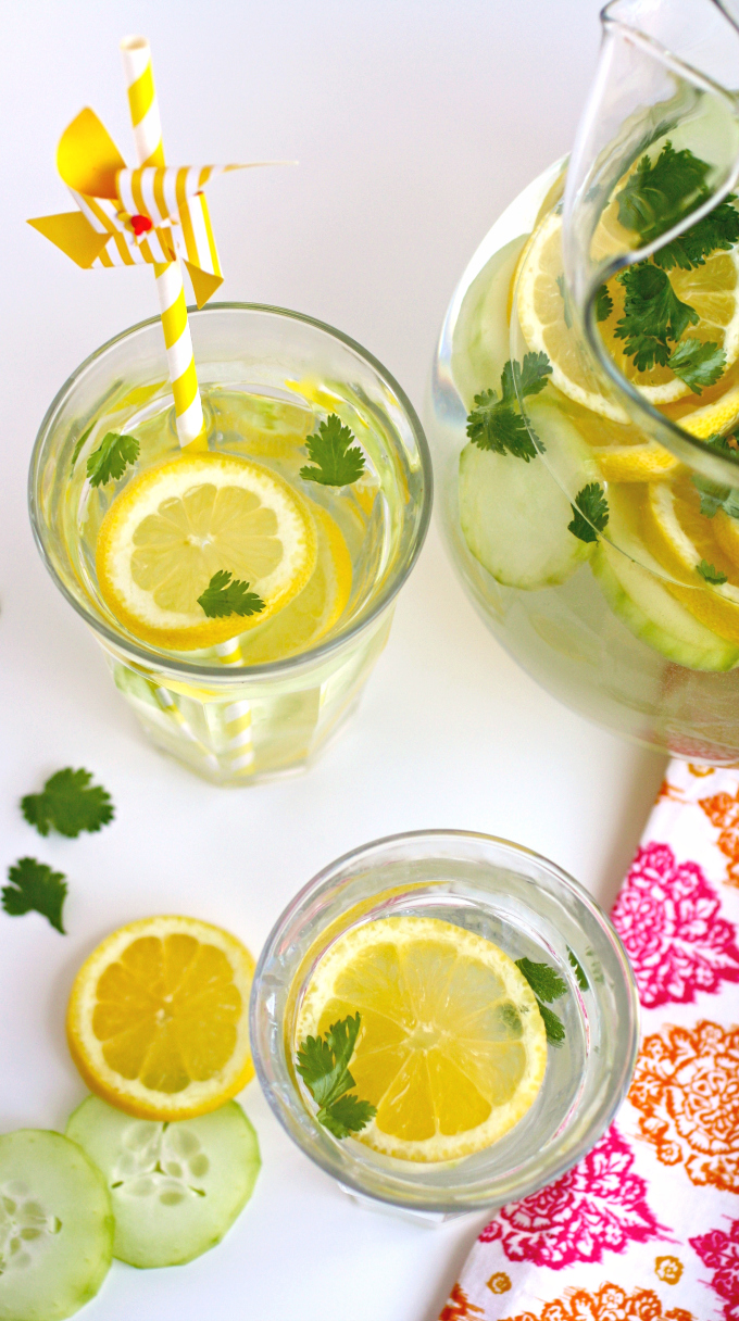 Enjoy a glass (or two) or Lemon, Cucumber & Cilantro Infused Water!