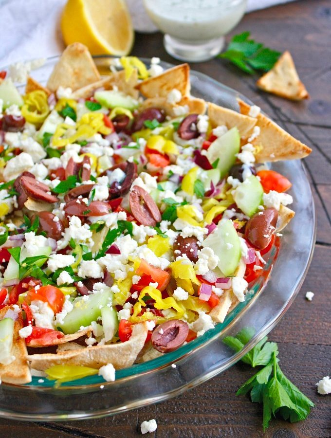 Looking for game day snack ideas? Greek Nachos with Tzatziki Sauce won't let you down!