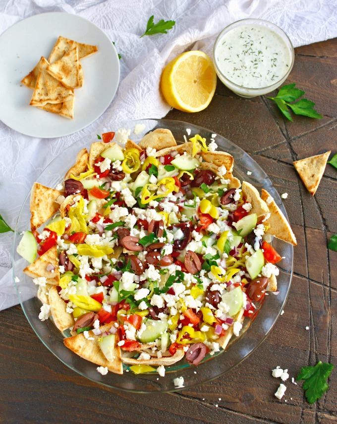Greek Nachos with Tzatziki Sauce are a fun and flavorful snack option!