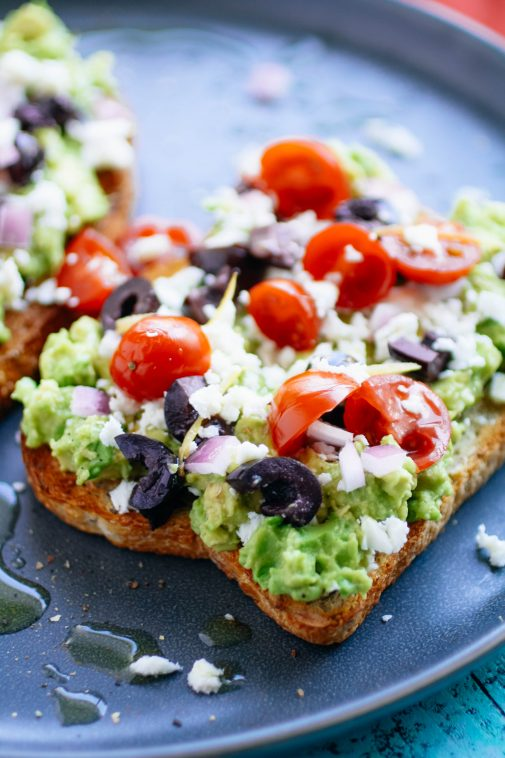Greek-Style Avocado Toast is super tasty! Greek-Style Avocado Toast is hearty, colorful, and delicious!