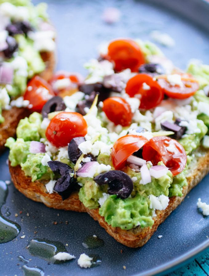 Greek-Style Avocado Toast is a fabulous open-faced sandwich! Greek-Style Avocado Toast is so easy to make for any meal!