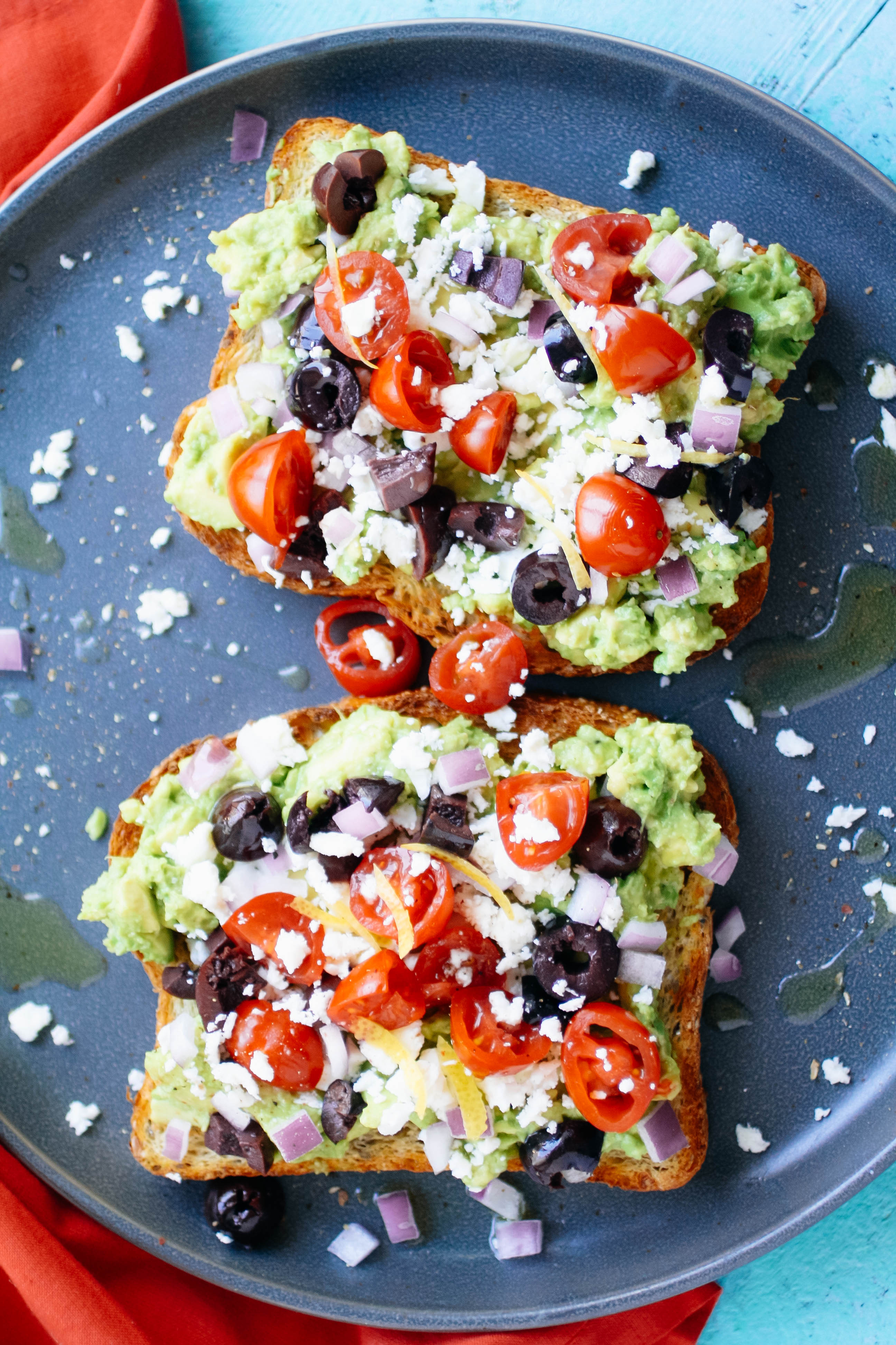 Greek-Style Avocado Toast is hearty and flavorful. You'll love this Greek-Style Avocado Toast for your next meal!