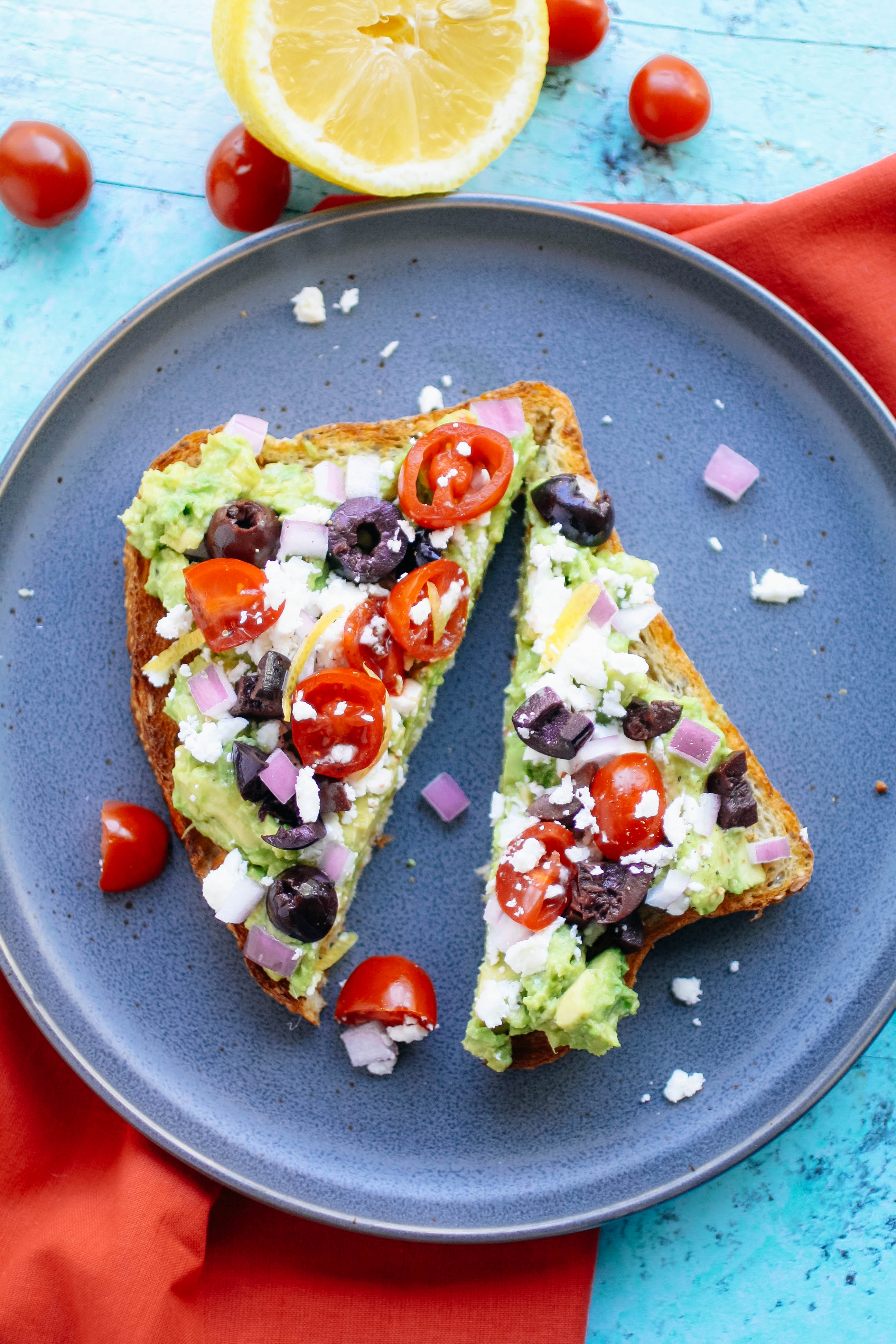 Greek-Style Avocado Toast is a tasty sandwich you'll love. Greek-Style Avocado Toast is a sandwich you'll love!
