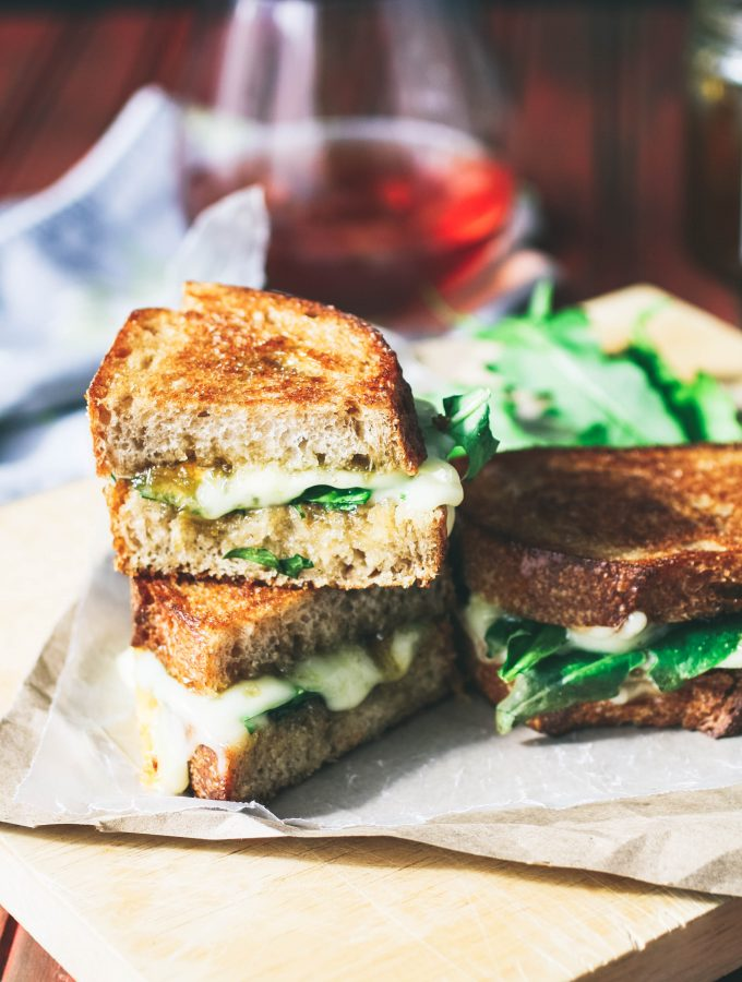 Grilled Brie, Fig Jam, and Dandelion Greens Sandwiches