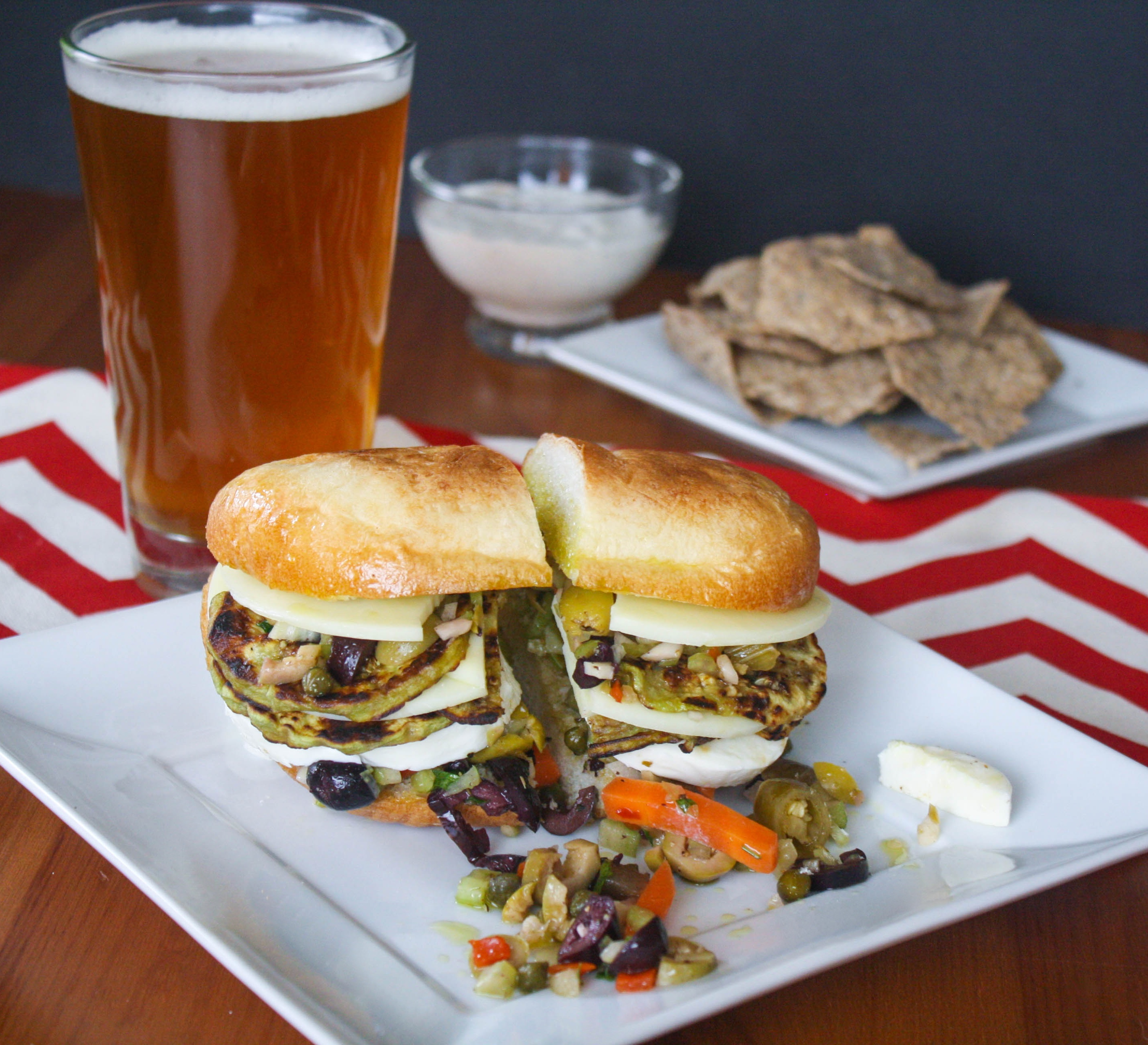 Eggplant Muffuletta Sandwiches make a fabulous meatless meal. These Eggplant Muffuletta Sandwiches are delicious and hearty for a fab meatless meal.