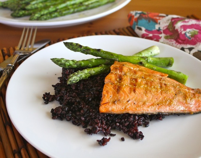 Grilled Salmon with Orange-Miso Glaze and Black Sticky Rice