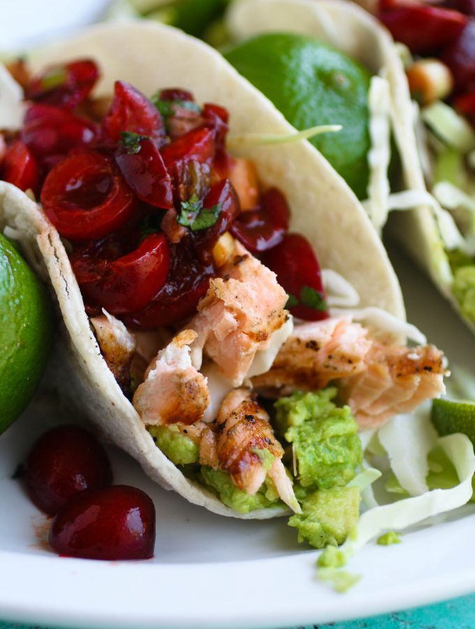 Grilled Salmon Tacos with Fresh Cherry-Chipotle Salsa