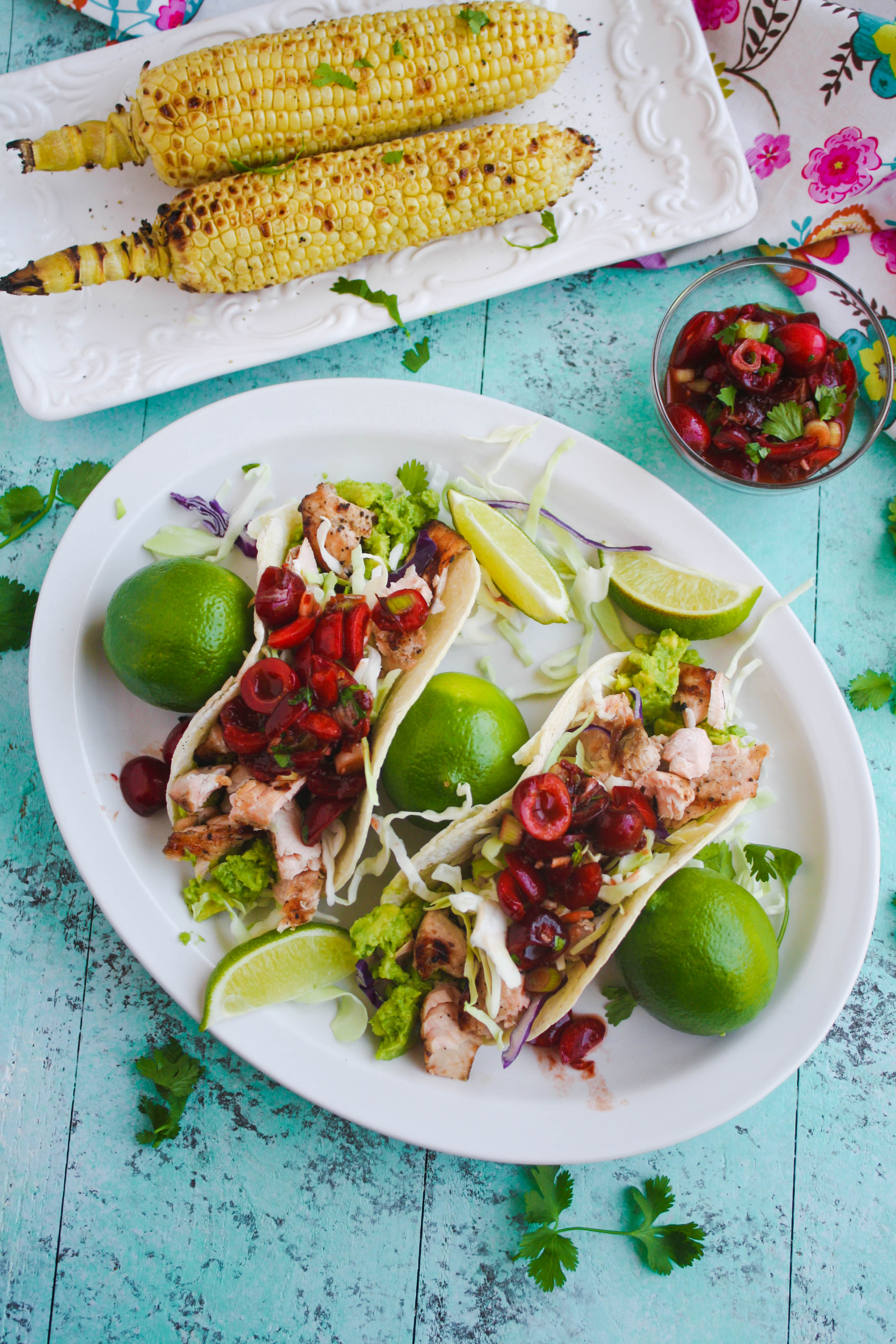 Grilled Salmon Tacos with Fresh Cherry-Chipotle Salsa is a perfect summer dish. Fresh cherries are perfect to top the salmon! Get your grill on!