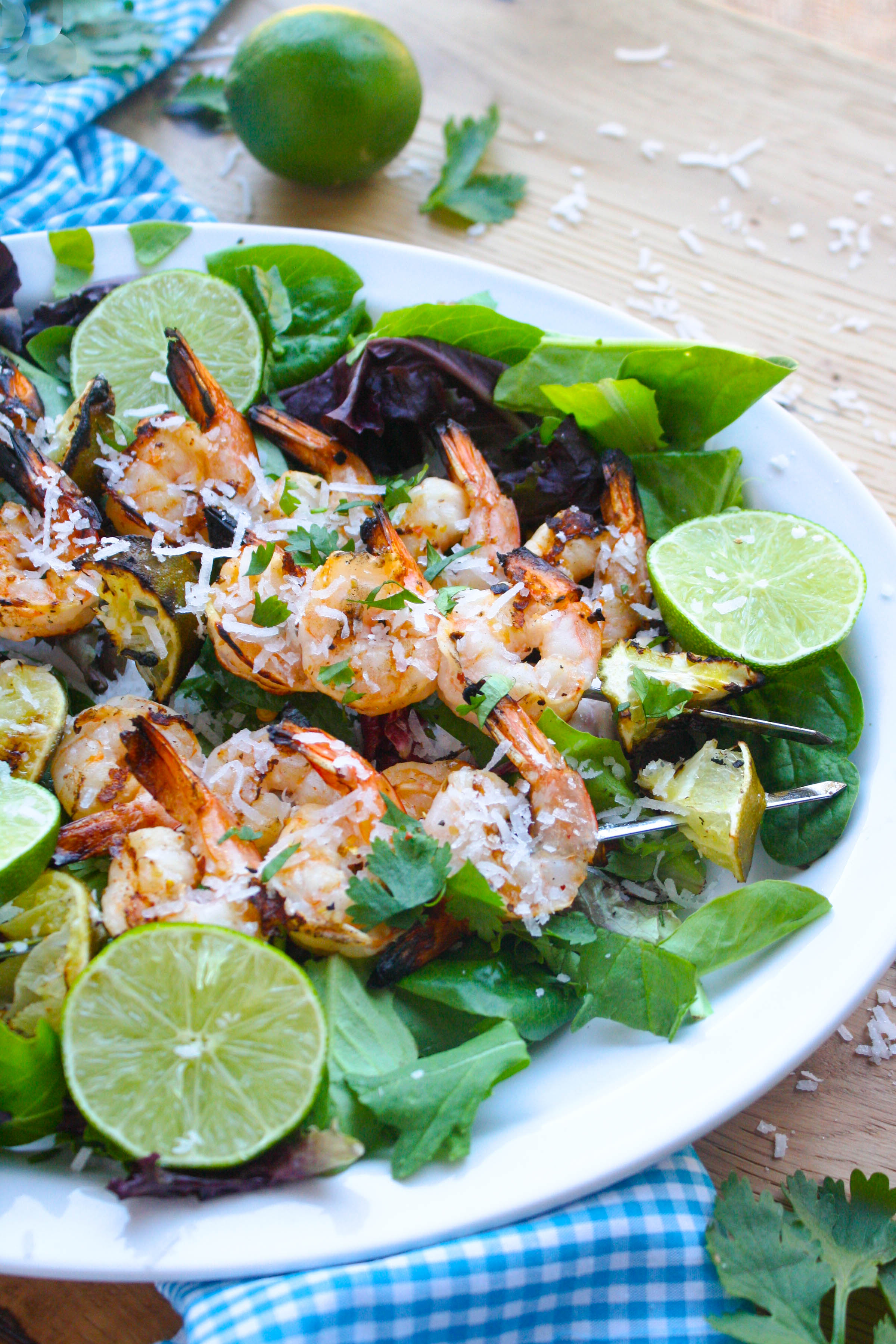 Grilled Spicy Coconut-Lime Shrimp Skewers make a fabulous meal. They're perfect to make during grilling season!