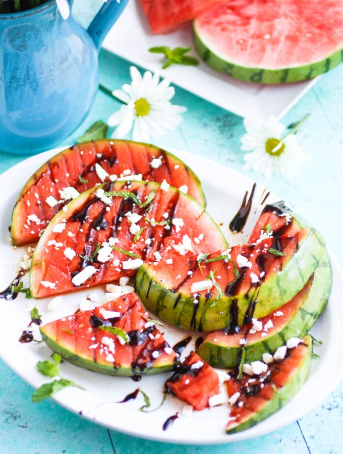 Grilled Watermelon with Feta, Mint, and Balsamic Glaze