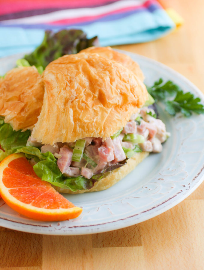 Ham Salad on a croissant is a great sandwich!