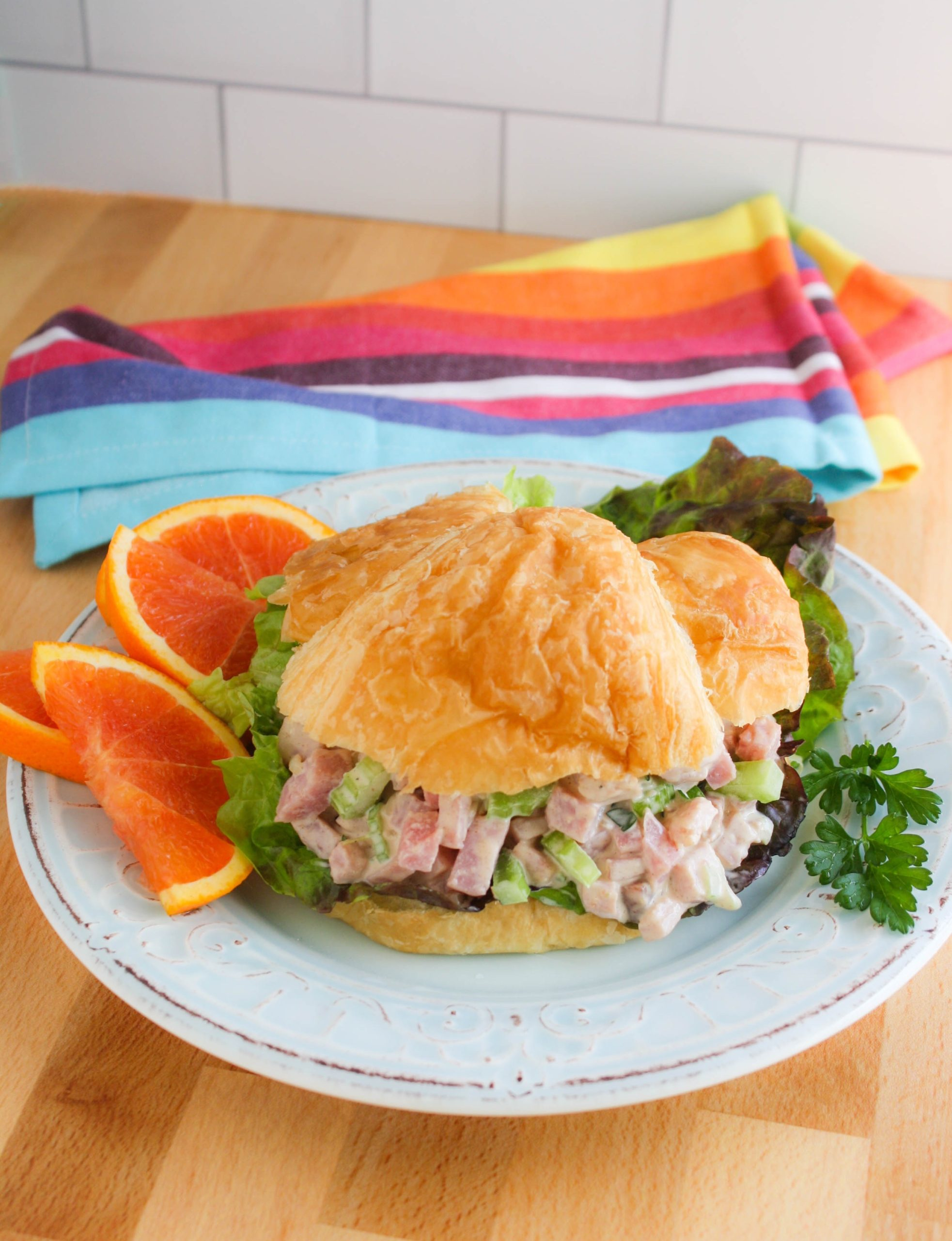 Ham Salad on a croissant for a tasty sandwich!