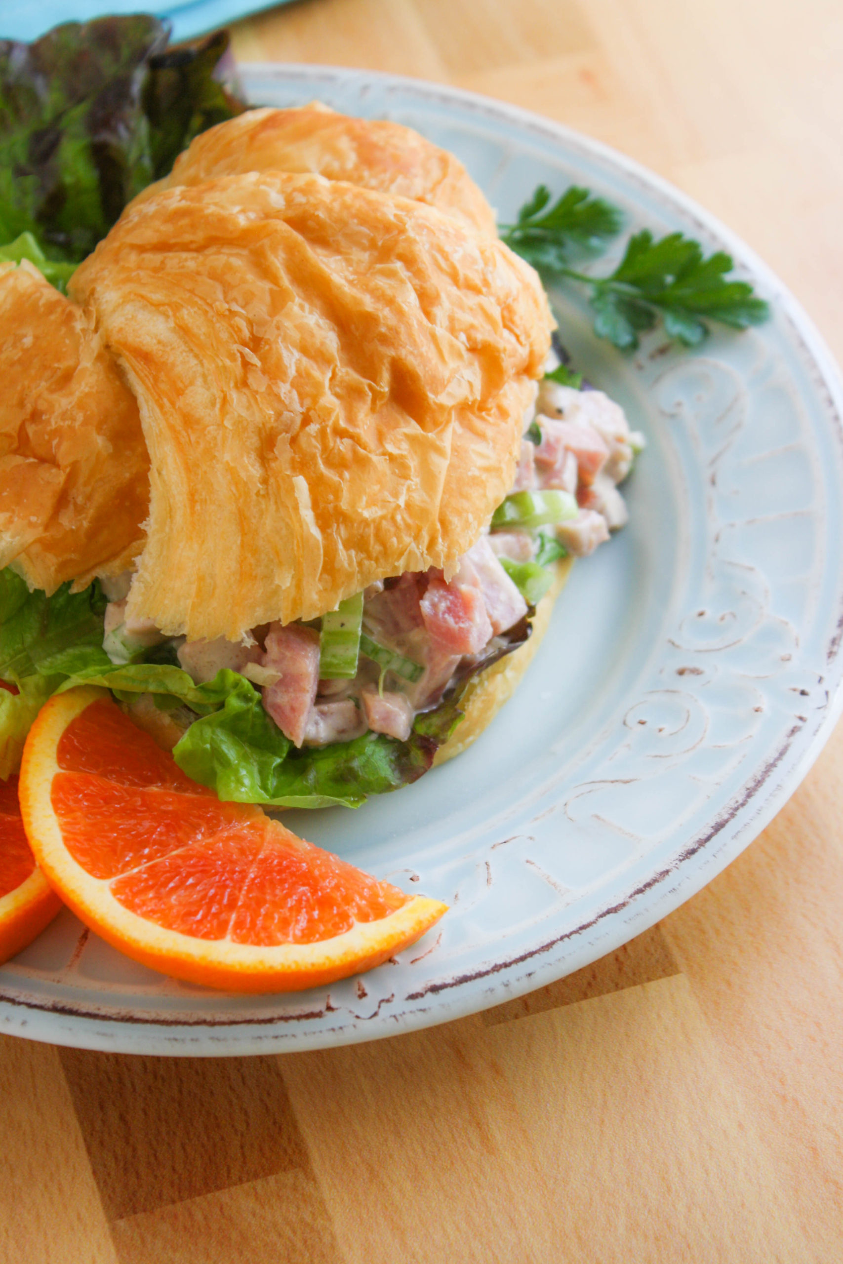 Ham Salad on a croissant is a great meal.